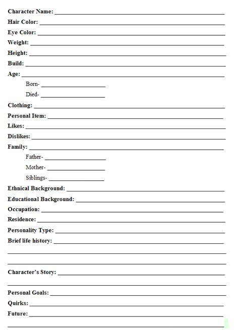 Character Development Worksheets - Tina Reber